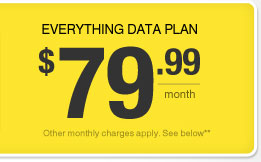 Everything Data plan - $79.99/month - Other monthly charges apply. See below**