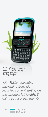 LG Remarq™ FREE* With 100% recycable packaging from high recycled content, texting on this phone's full QWERTY gains you a green thumb.