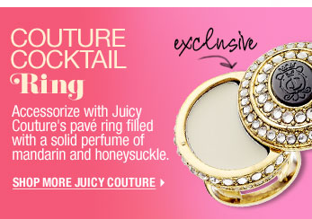 Exclusive. Couture Cocktail Ring. Accessorize with Juicy Couture's pavé ring filled with a solid perfume of mandarin and honeysuckle. Shop More Juicy Couture >