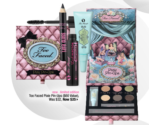 new . limited edition. Too Faced Pixie Pin-Ups ($60 Value), Was $32, Now $25