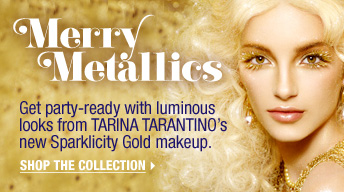 Merry Metallics. Get party-ready with luminous looks from TARINA TARANTINO's new Sparklicity Gold makeup. Shop the collection >