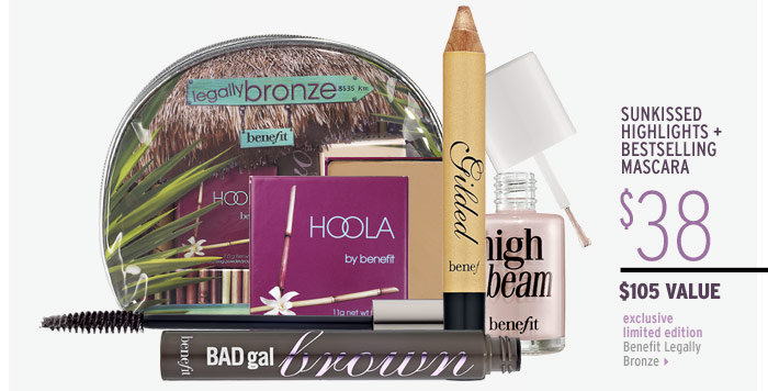 SUNKISSED HIGHLIGHTS PLUS BESTSELLING MASCARA | exclusive . limited edition | Benefit Legally Bronze ($105 Value), $38