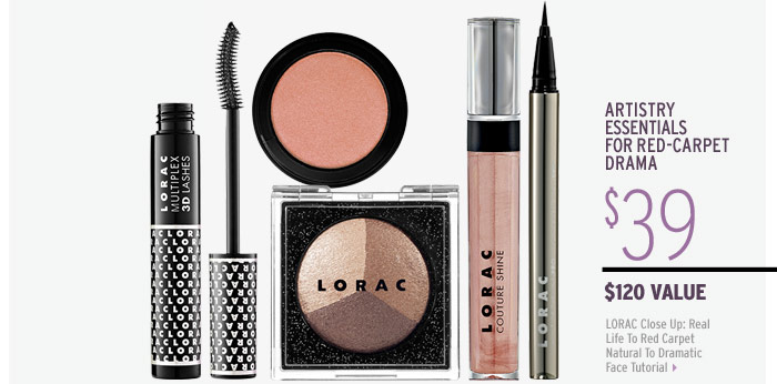 Artistry essentials for red-carpet drama | LORAC Close Up: Real Life To Red Carpet Natural To Dramatic Face Tutorial ($120 Value), $39
