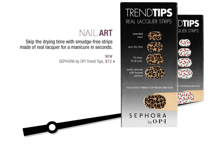 Nail Art | Skip the drying time with smudge-free strips made of real lacquer for an instant manicure inseconds. | new | SEPHORA by OPI Trend Tips, $12 >