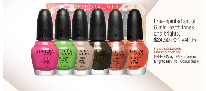 Free-spirited collection of 6 mini earth tones and brights, $24.50 ($32 Value) | new . exclusive . limited edition | SEPHORA by OPI Bohemian Brights Mini Nail Colour Set