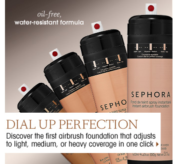 Dial Up Perfection. Discover the first airbrush foundation that adjusts to light, medium, or heavy coverage in just one click > oil-free, water-resistant formula