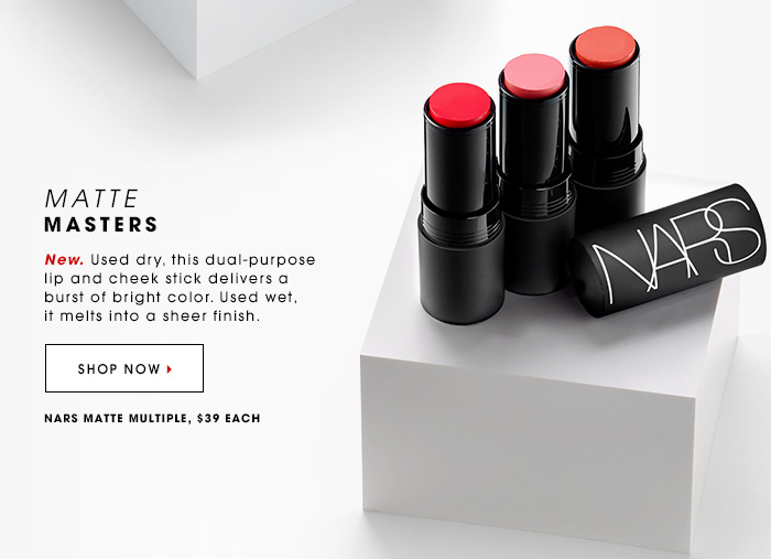 MATTE MASTERS New. Used dry, this dual-purpose lip and cheek stick delivers a burst of bright color. Used wet, it melts into a sheer finish. SHOP NOW NARS Matte Multiple, $39 each