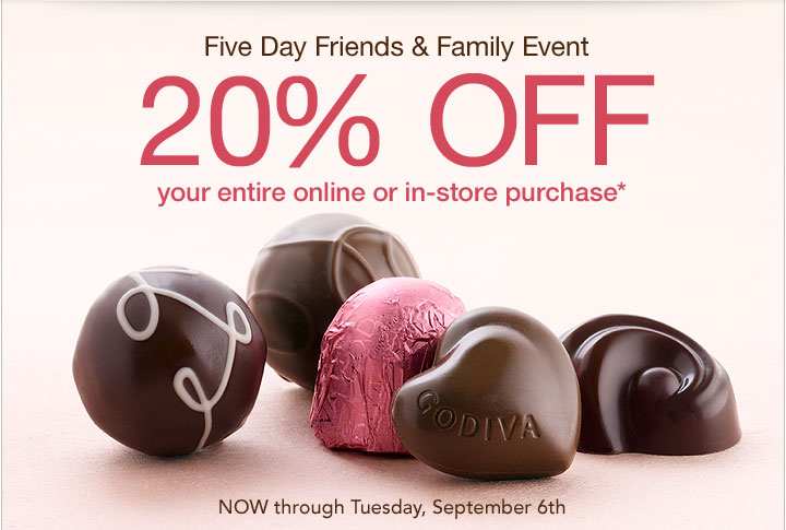 Five Day Friends & Family Event – 20% OFF your entire online or in-store purchase* – NOW through Tuesday, September 6th