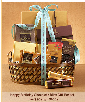 HAPPY BIRTHDAY CHOCOLATE BLISS GIFT BASKET, NOW $80 (REG. $100)