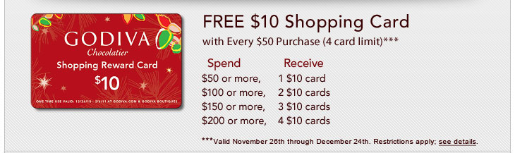 FREE $10 Shopping Card with Every $50 Purchase (4 card limit)***