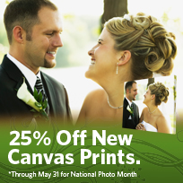 25% Off New Canvas Prints. *Through May 31 for National Photo Month