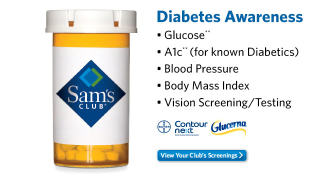 Diabetes Awareness - Glucose** - A1c** (for known Diabetics) - Blood Pressure - Body Mass Index - Vision Screening/Testing - View Your Club's Screenings