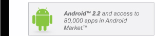 Android™ 2.2 and access to 80,000 apps in Android Market.™