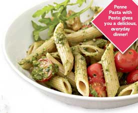 Penne Pasta With Pesto gives you a delicious, everyday dinner!