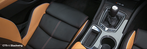 Overhead view of the driver seat, center console and gear shifter inside the CT5-V Blackwing