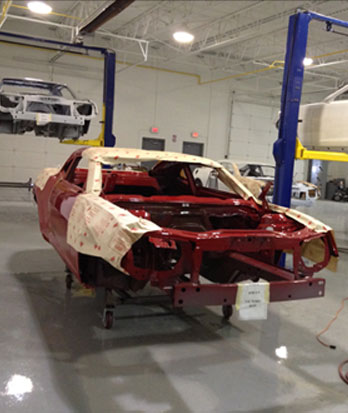 A COPO Camaro is prepped for decals