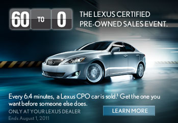 THE LEXUS CERTIFIED PRE-OWNED SALES EVENT.