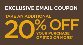 Exclusive Email Coupon - Take An Additional 20% Off Your Purchase of $100 or More*