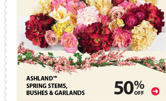 50% off Ashland™ Spring Stems, Bushes & Garlands.