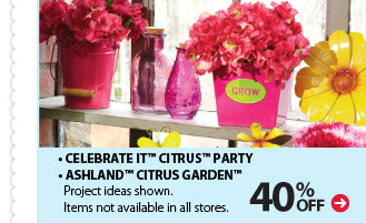 40% off •Celebrate It™ Citrus™ Party •Ashland™ Citrus Garden™ Project ideas shown. Items not available in all stores.