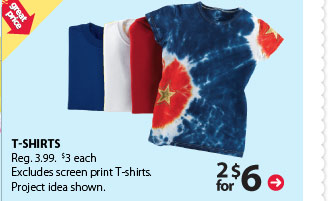 Great price - 2 for $6 T-shirts. Reg. $3.99. $3 each. Excludes screen print T-shirts. Project idea shown.