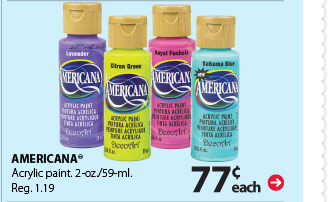 77¢ each Americana® Acrylic paint. 2-oz/59-ml. Reg. $1.19.