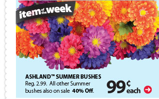 Item of the week: 99¢ each Ashland™ Summer Bushes. Reg $2.99. All other Summer bushes also on sale 40% off.