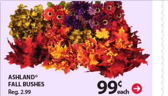 99¢ each Ashland® Fall Bushes Reg. 2.99