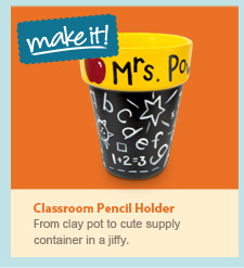 Classroom pencil holder. From clay pot to cute supply container in a jiffy.