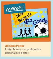 All stars poster. Foster homeroom pride with a personalized poster.