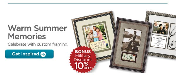 Warm Summer Memories - Celebrate with custom framing. Get Inspired | BONUS Military Discount 10% OFF**