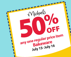50% off any one regular price item — Bakeware — July 15-July 16