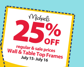 25% off regular & sale prices — Wall & Table Top Frames — July 15-July 16