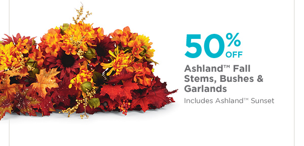 50% OFF Ashland™ Fall Stems, Bushes & Garlands - Includes Ashland™ Sunset