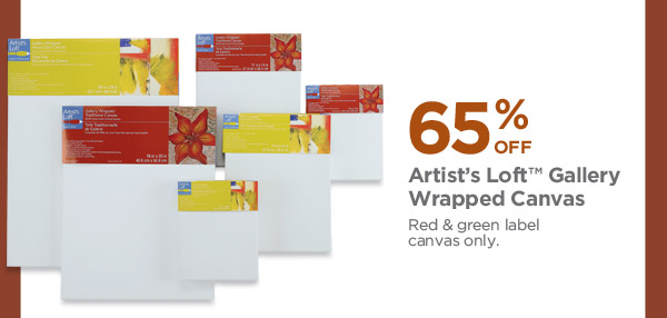 65% OFF Artist's Loft™ Gallery Wrapped Canvas. Red & green label canvas only.