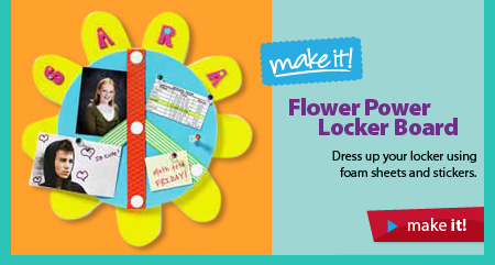 Flower Power Locker Board. Dress up your locker using foam sheets and stickers. Make it!