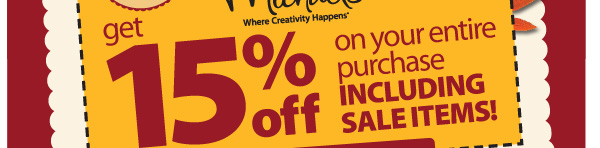 Get 15% off your entire purchase including sale items!