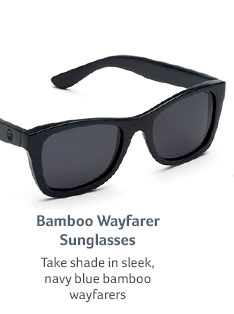 Bamboo Wayfarer Sunglasses... Take shade in sleek, navy blue bamboo wayfarers