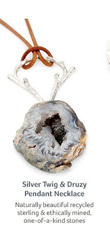 Silver Twig & Druzy Pendant Necklace... Naturally beautiful recycled sterling & ethically mined, one-of-a-kind stones