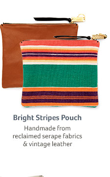 Bright Stripes Pouch... Handmade from reclaimed serape fabrics & vintage leather